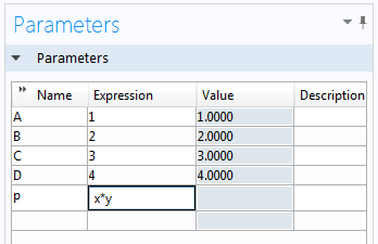 Define Parameters under Global Definitions
