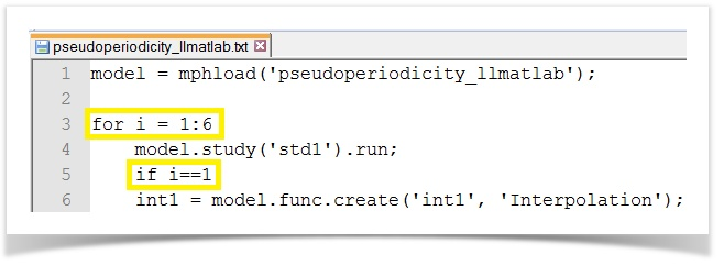A screenshot showing the for-loop and if-statement commands in the  MATLAB script