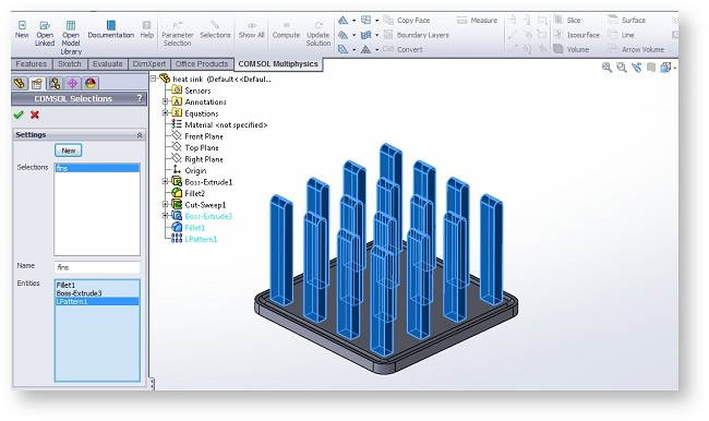 Selections button from the COMSOL Multiphysics tab in SolidWorks