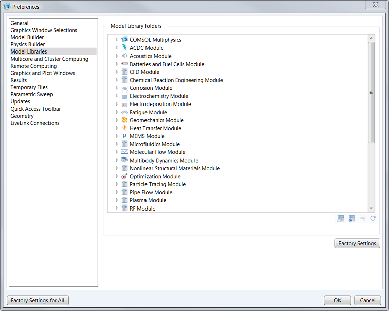 Screenshot of the Preferences window of the Model Library