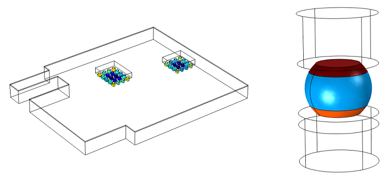To the left, a full model of all joints in two ball grid arrays and to the left, a submodel of the critical solder joint