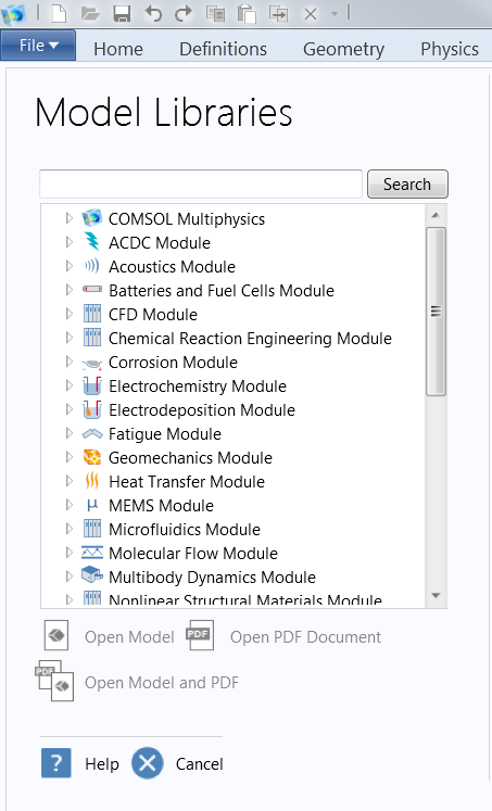 Screenshot of the model libraries list available in COMSOL Multiphysics