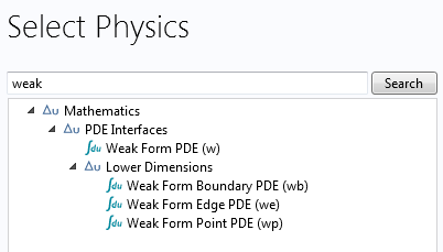 Screenshot of the available weak form interfaces in COMSOL Multiphysics