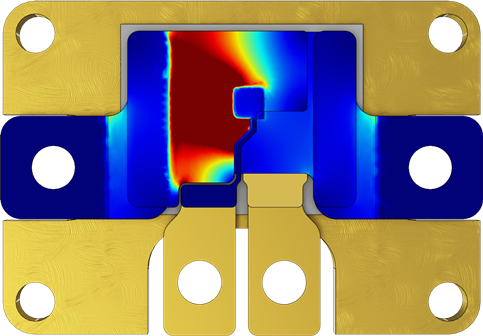 Simulation results depicting current density in the GaN package