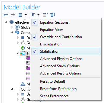 Screenshot of the stabilization settings in COMSOL Multiphysics