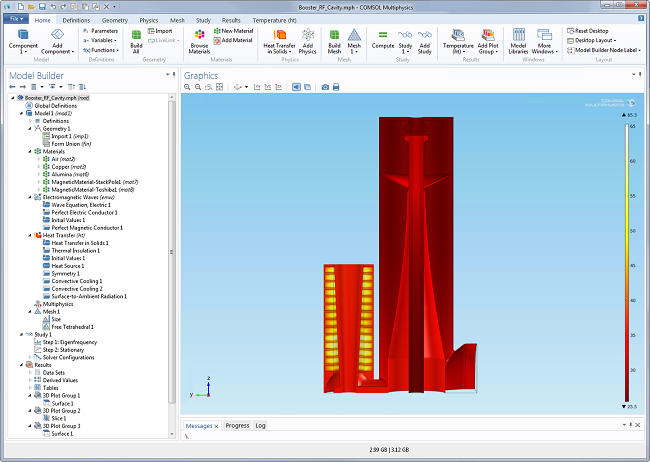Screenshot of the Booster RF cavity model as seen in COMSOL Multiphysics