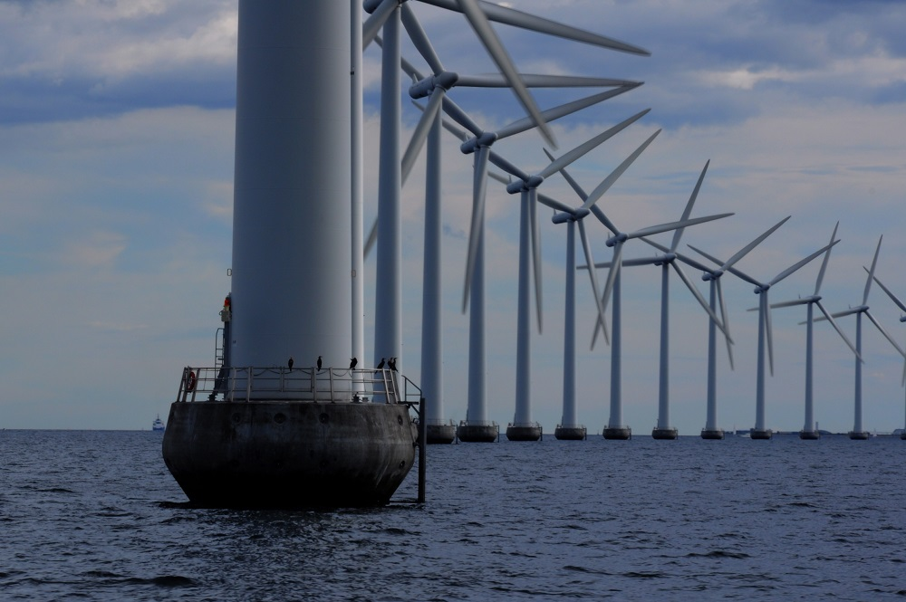 Offshore windmill turbines at a windfarm