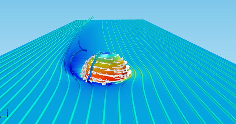模型显示了马格努斯力在足球上产生的速度和压力场