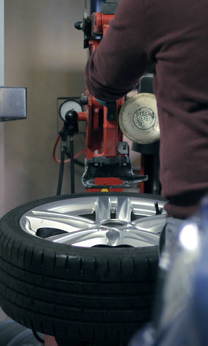 Image of the wheel assembly process