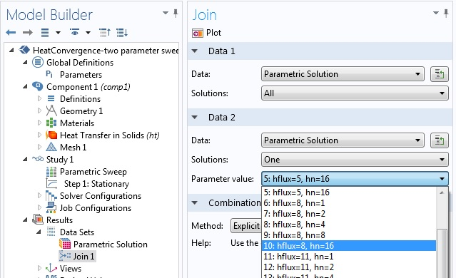 Screenshot of a join data set including a multiparameter sweep