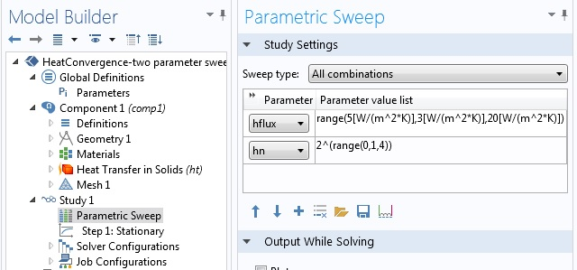 Setting up a multiparameter sweep in COMSOL Multiphysics