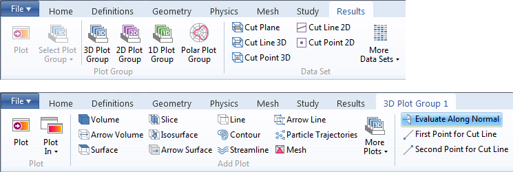Drop-down options in COMSOL Multiphysics.
