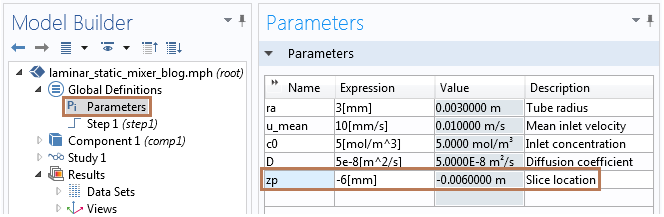 Image of the parameters table in COMSOL Multiphysics.