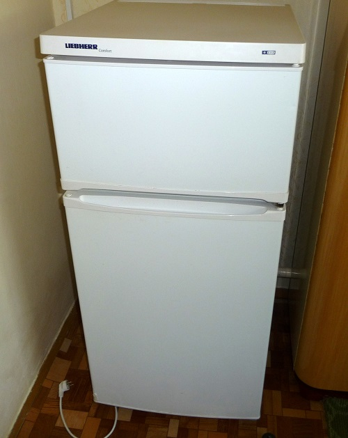 Image of a household refrigerator, which may one day be replaced within magnetic cooling technology.