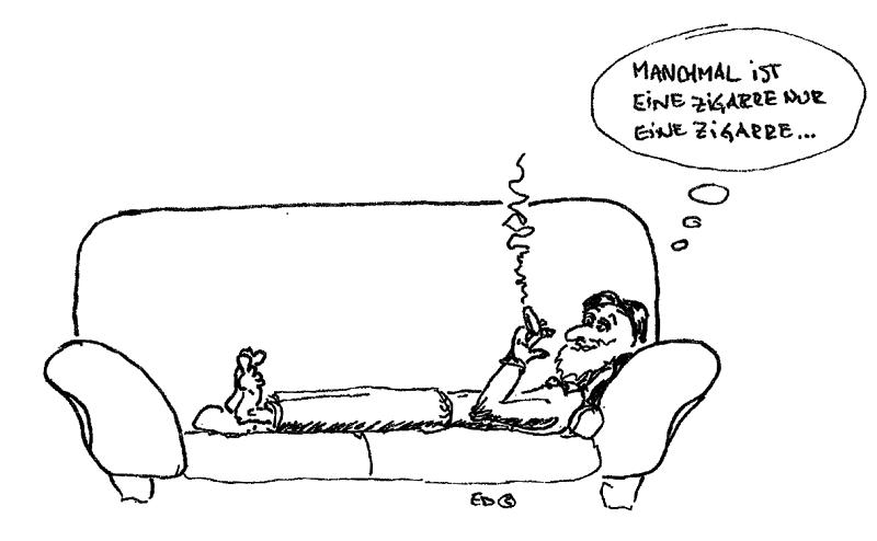 描述吸雪茄的漫画。