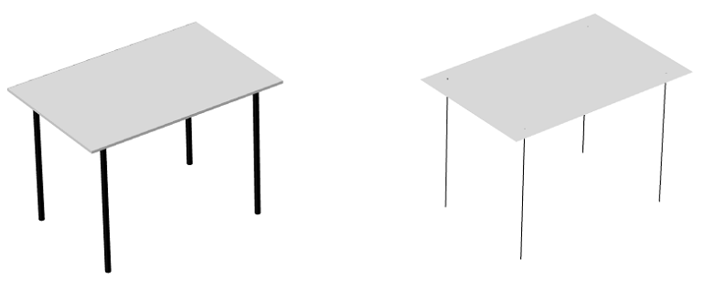 A model geometry of a reading table along with a model geometry of a reading table created with the Shell and Beam interfaces.