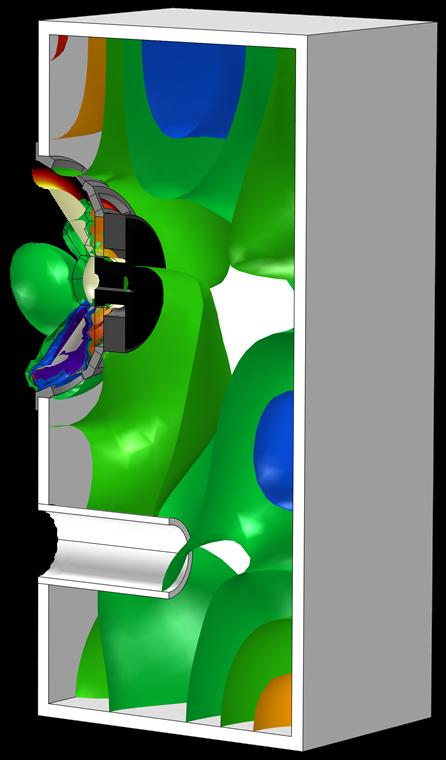 等值面图使用 Spectrum 颜色表显示了敞开式扬声器音箱中的声压。