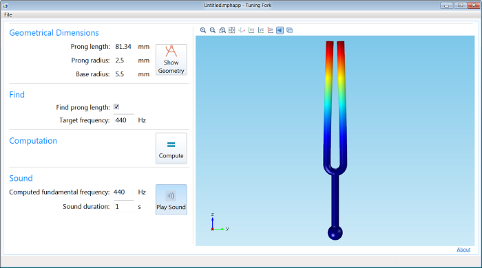 Running tuning fork application