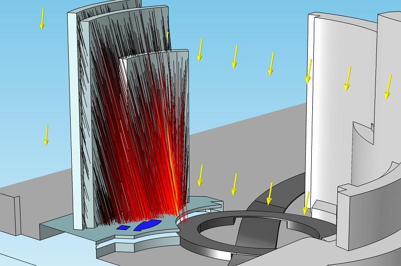 导致 Vdara® 酒店形成焦散面的射线轨迹。