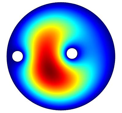 二维仿真显示了微波腔内的电场。