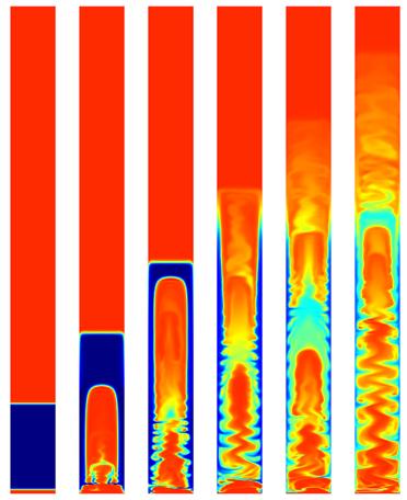 此模型展示了垂直立管向上运送的分散相。