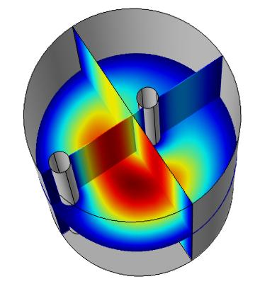 三维模型中的电场分布。