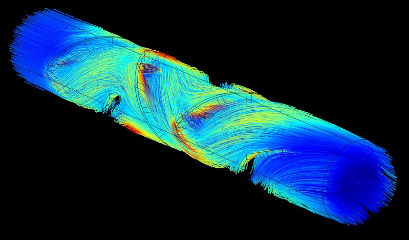 层流混合器模型中的粒子追踪图。