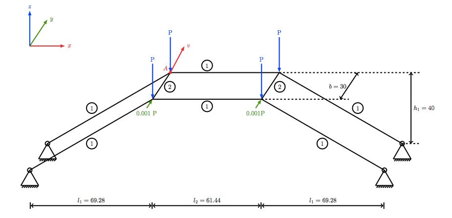 空间框架几何示意图。