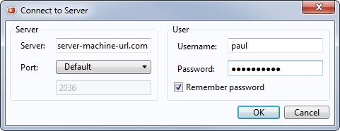 在 COMSOL 客户端运行  COMSOL Server™ 时,输入用户信息。