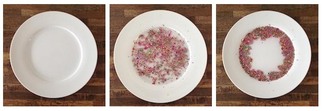 三个含有水、发光物及洗洁精的盘子演示了马兰格尼效应。