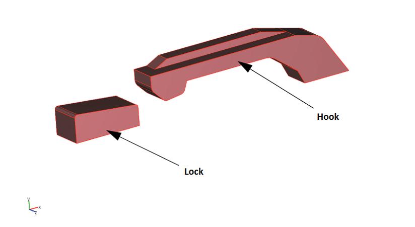 弹簧钩的几何结构。