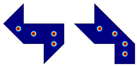 一组多边形鼓的击打位置图。