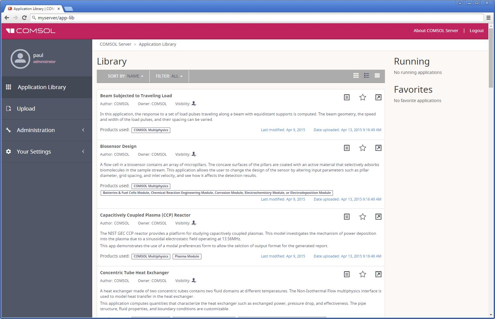 COMSOL Server App 库屏幕截图。