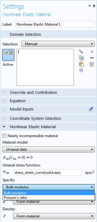 COMSOL Multiphysics 中的单轴数据设定。