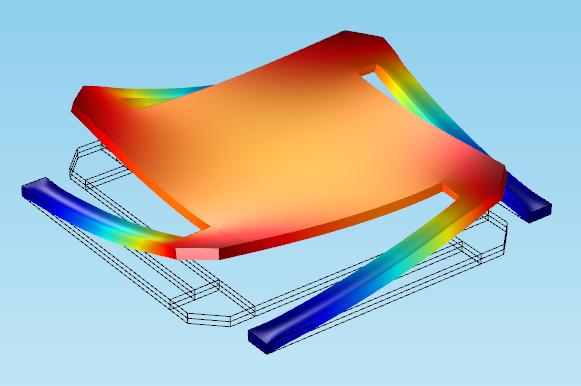 COMSOL Multiphysics 教程模型,显示了微镜中的变形。