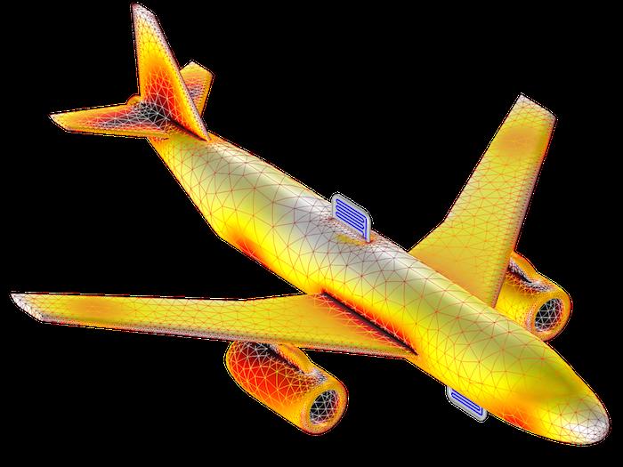 飞机机身上照亮区和阴影区的模型。