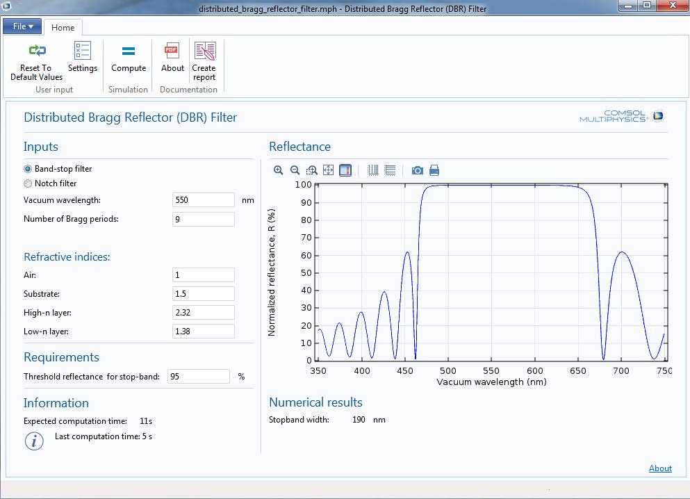在 DBR 滤波器 App 中计算阻带宽度。
