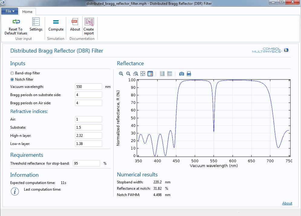 在 COMSOL Multiphysics 中通过 DBR 滤波器 App 绘制辐射的传播。