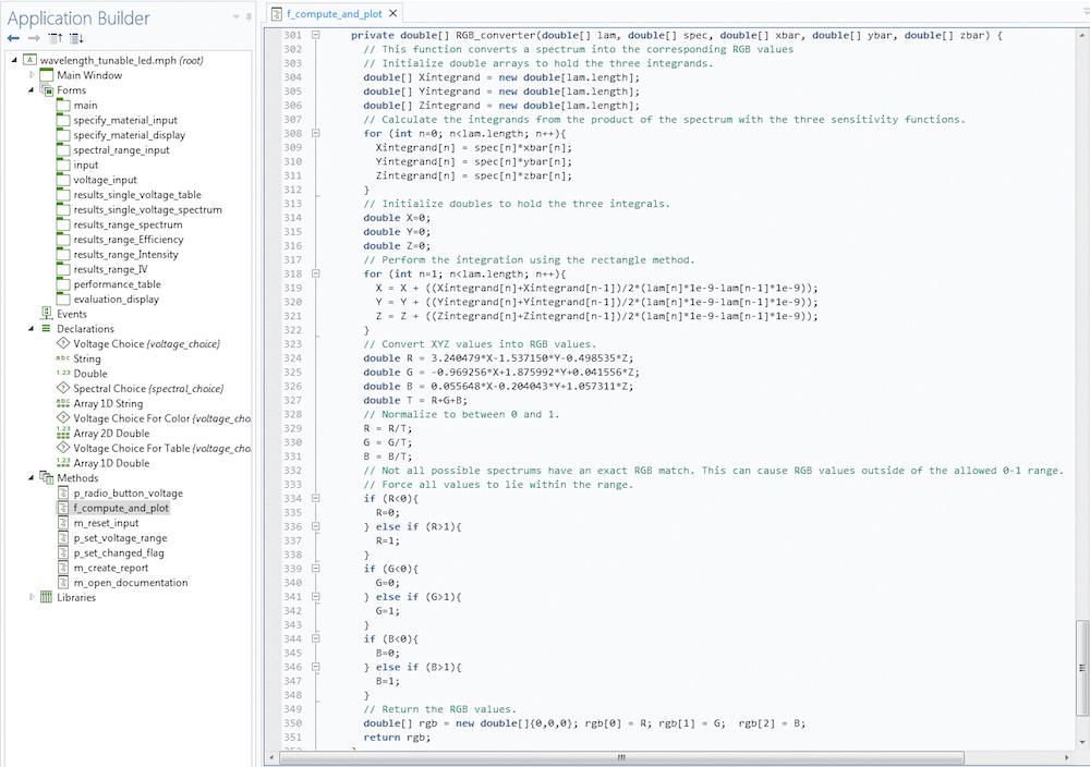 COMSOL Multiphysics 的 App 开发器中 RGB_converter() 方法的显示图。