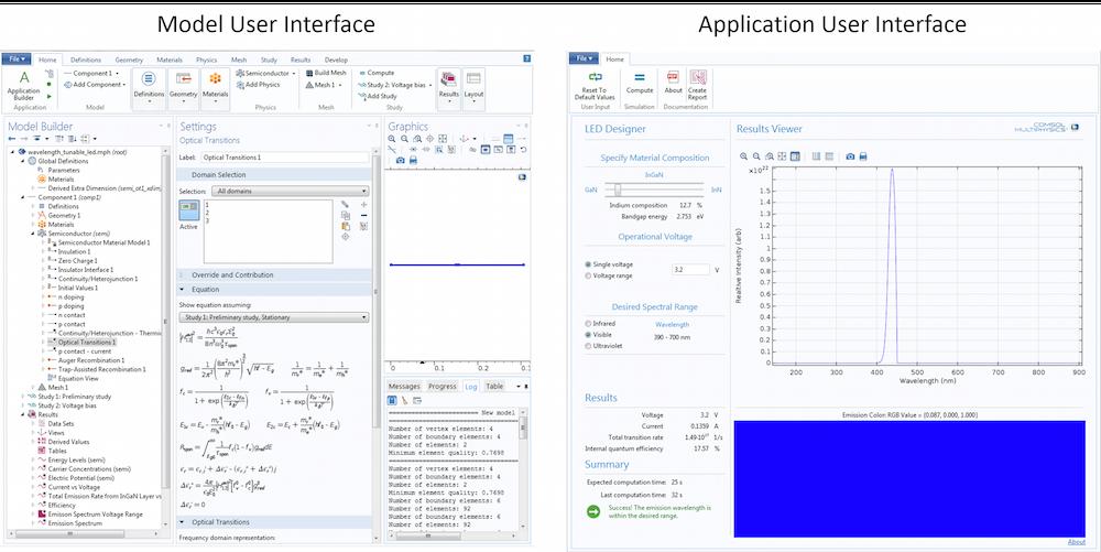 模型用户界面和 App 用户界面比较的屏幕截图。