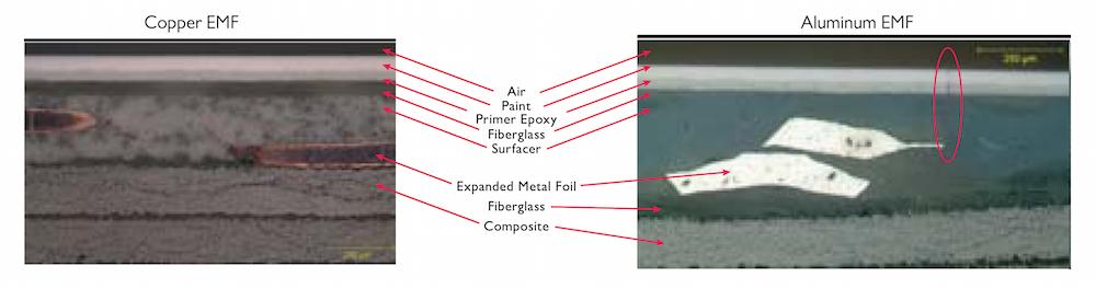 经暴露后的波音飞机复合结构层合板的图片。