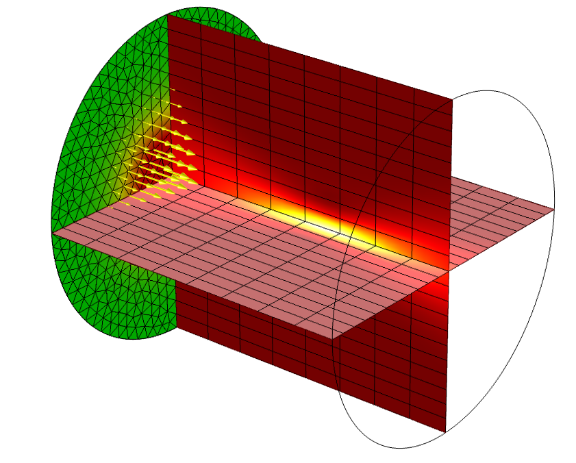 Laser beam focused in cylindrical material domain 在 COMSOL Multiphysics 中模拟激光与材料的相互作用