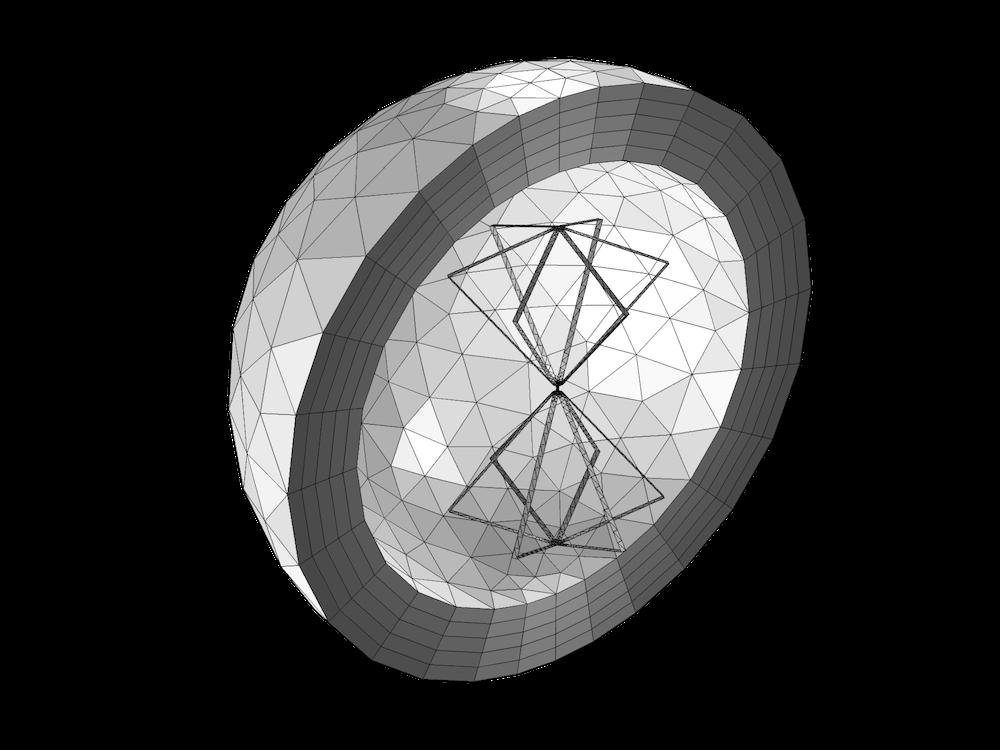 双圆锥天线的COMSOL Multiphysics 网格。