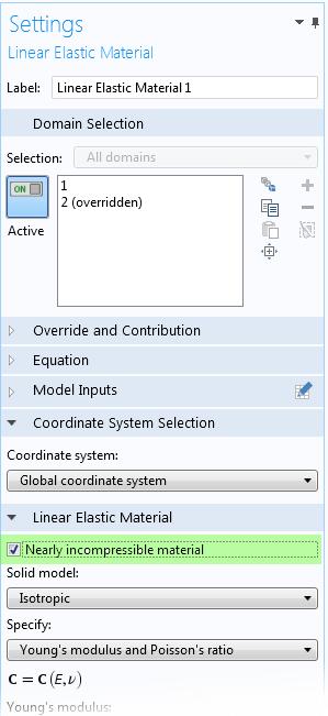 屏幕截图显示了如何在 COMSOL Multiphysics 中访问几乎不可压缩材料选项。
