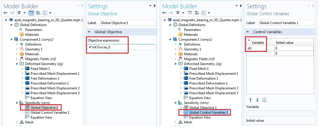 Global objectives and global control variables settings1 使用 COMSOL Multiphysics® 模拟磁悬浮轴承