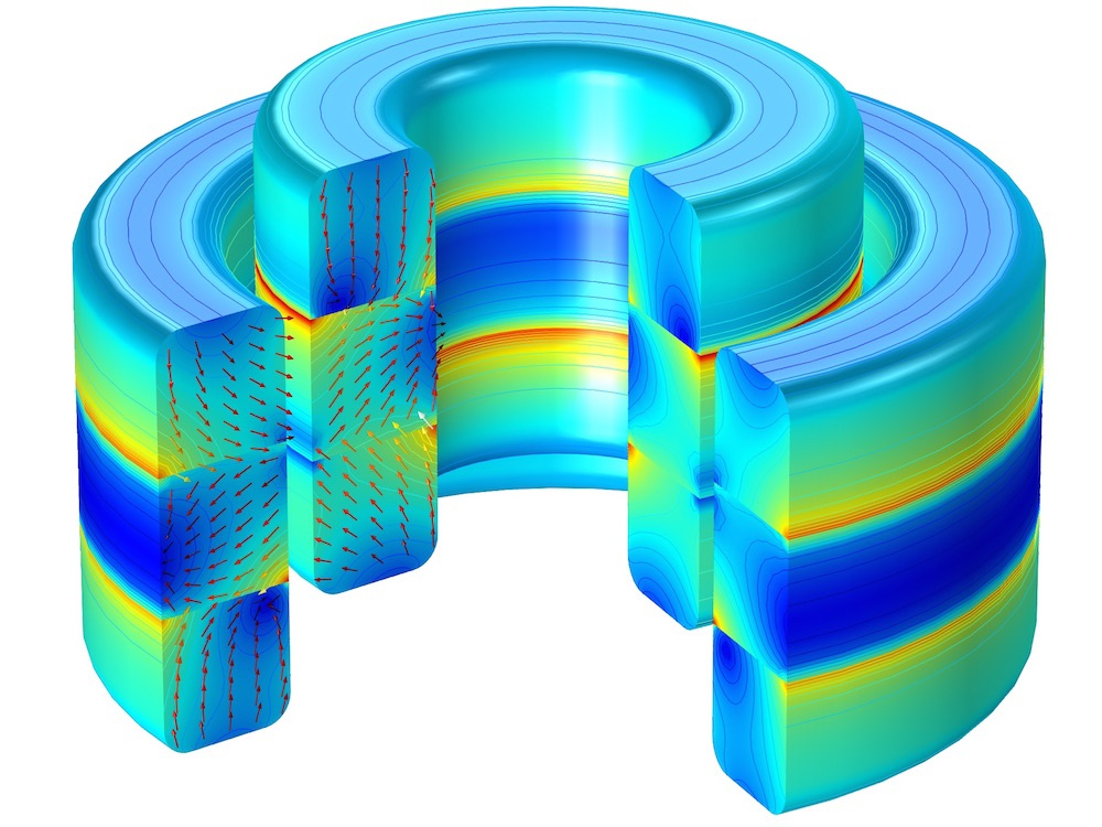 Magnetic flux density of an axial magnetic bearing1 使用 COMSOL Multiphysics® 模拟磁悬浮轴承