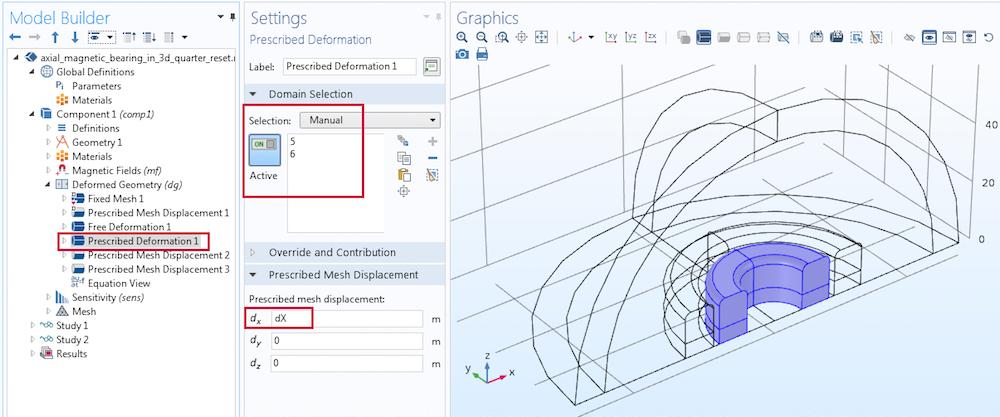 prescribed deformation  COMSOL Screenshot 使用 COMSOL Multiphysics® 模拟磁悬浮轴承