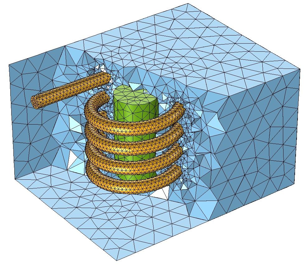 COMSOL Multiphysics 中缺省的自由四面体网格。