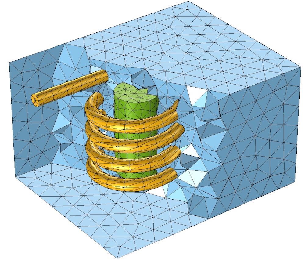应用在线圈其他域中的四面体网格。