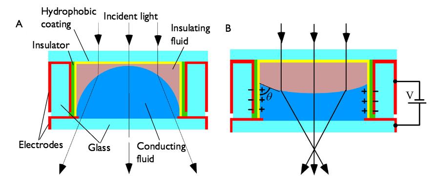 图像展示了 Philips FluidFocus 透镜的工作原理。